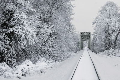 Snowy Train Tracks