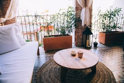 Sofa And Coffee Table On Large Balcony