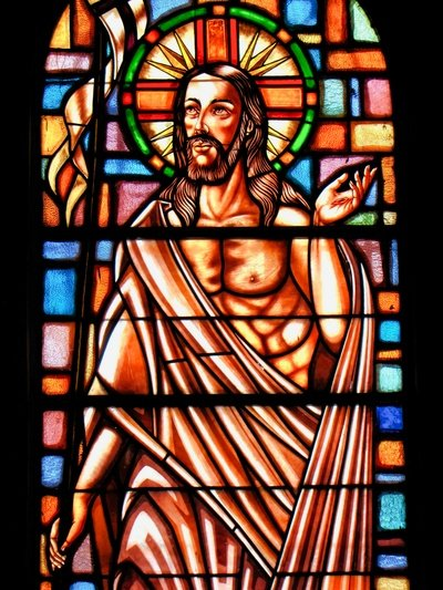 Stained glass of the Risen Christ