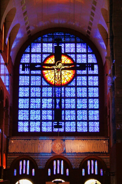 Stained glass on altar