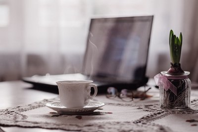 Steaming Coffee & Laptop