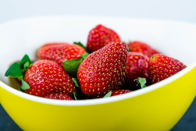 Strawberries in Yellow Bowl