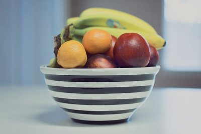 Striped Fruit Bowl with Apples, Bananas & Oranges