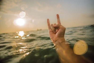 Surfer Hand in Ocean