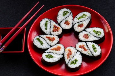 Sushi on Red Plate
