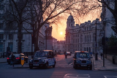 Taxis At Sunset