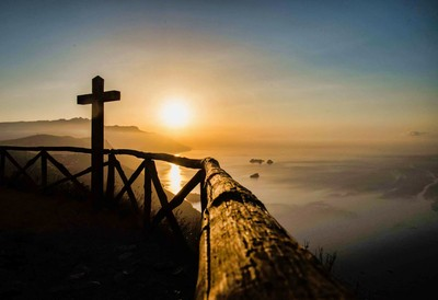 The cross in a sunset
