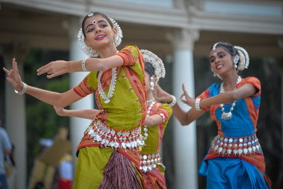 Three Woman Performing Traditional Dance