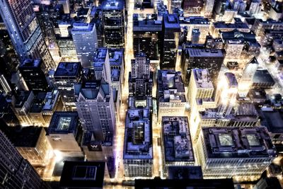 Top View of Cityscape at Night Time