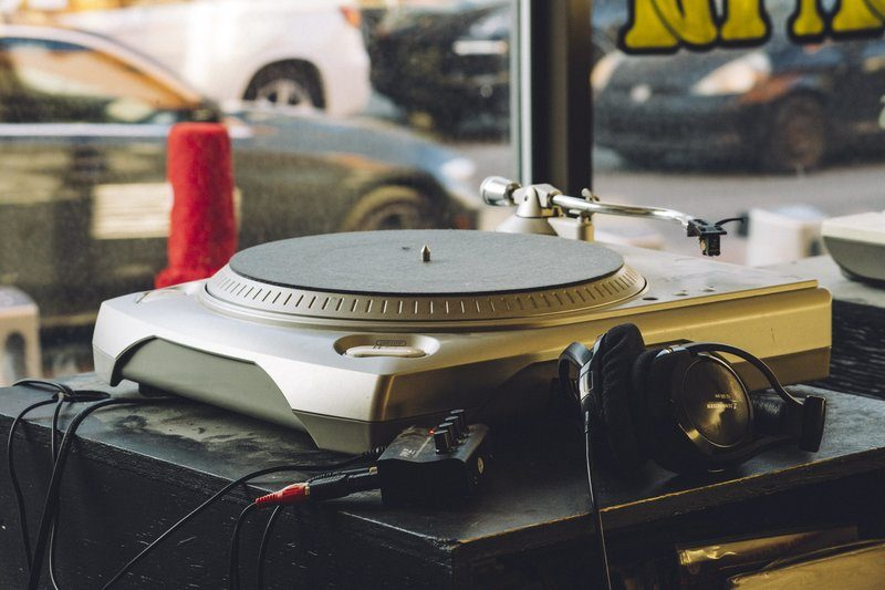 Turntable Sat In A Store Window