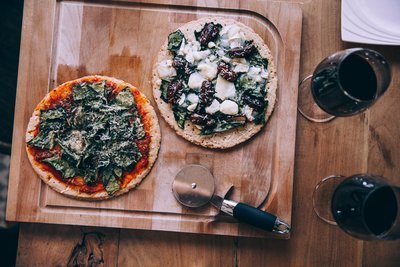 Two Pizzas And Wine