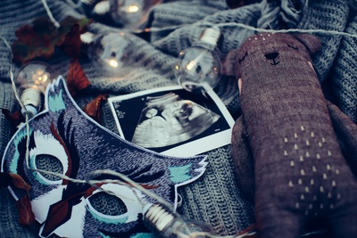 Ultrasound Photo Surrounded By String Lights