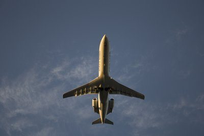 View Of A Low Flying Plane Above