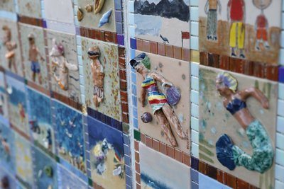 Wall Made Of Sculpted Mosaic Tiles