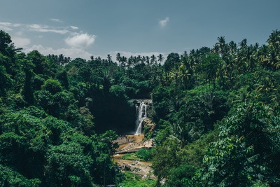 Waterfall, Forest & Blue Sky