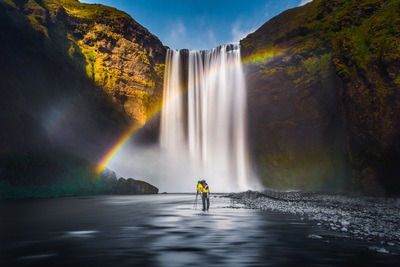 Waterfall Rainbow Landscape