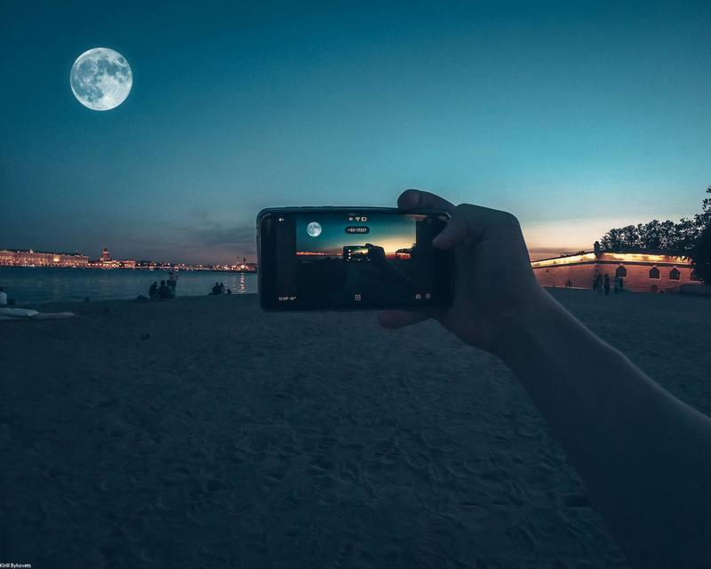 Taking a photo of the moon