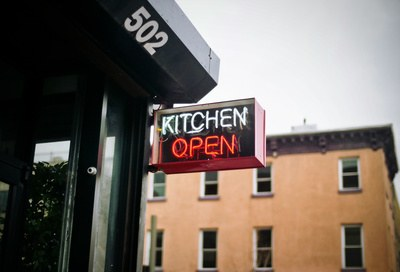 White And Red Neon Lighted Kitchen Open Signage
