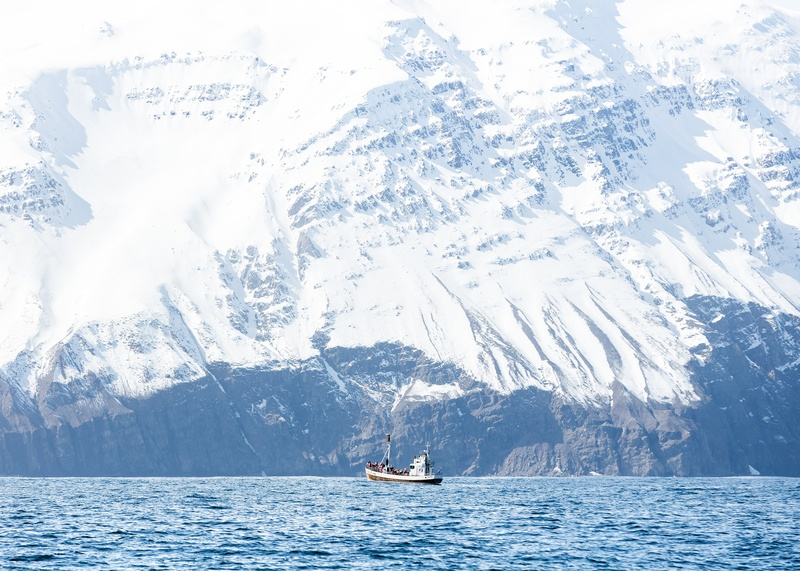 White Boat in Water Bear Mountain Covered of Snow