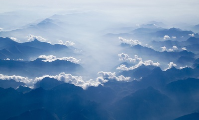 White Clouds Above Silhouette of Clouds