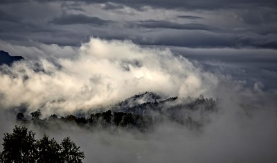 White Clouds on Top of A Mountain