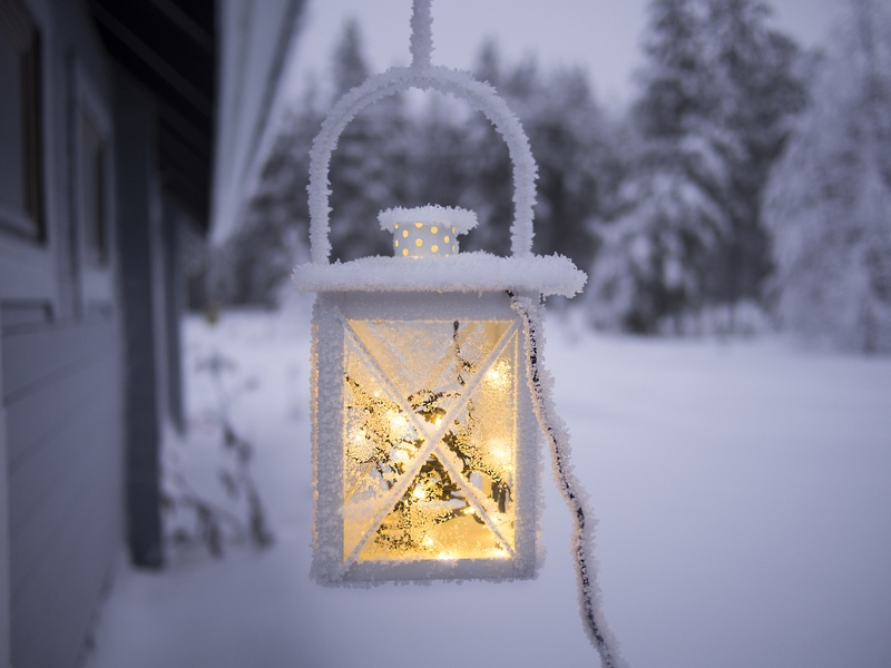 White Pendant Lamp Hanging Near Snow Covered Forest