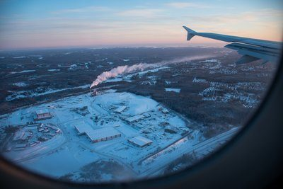 Winter Scene From Airplane Window