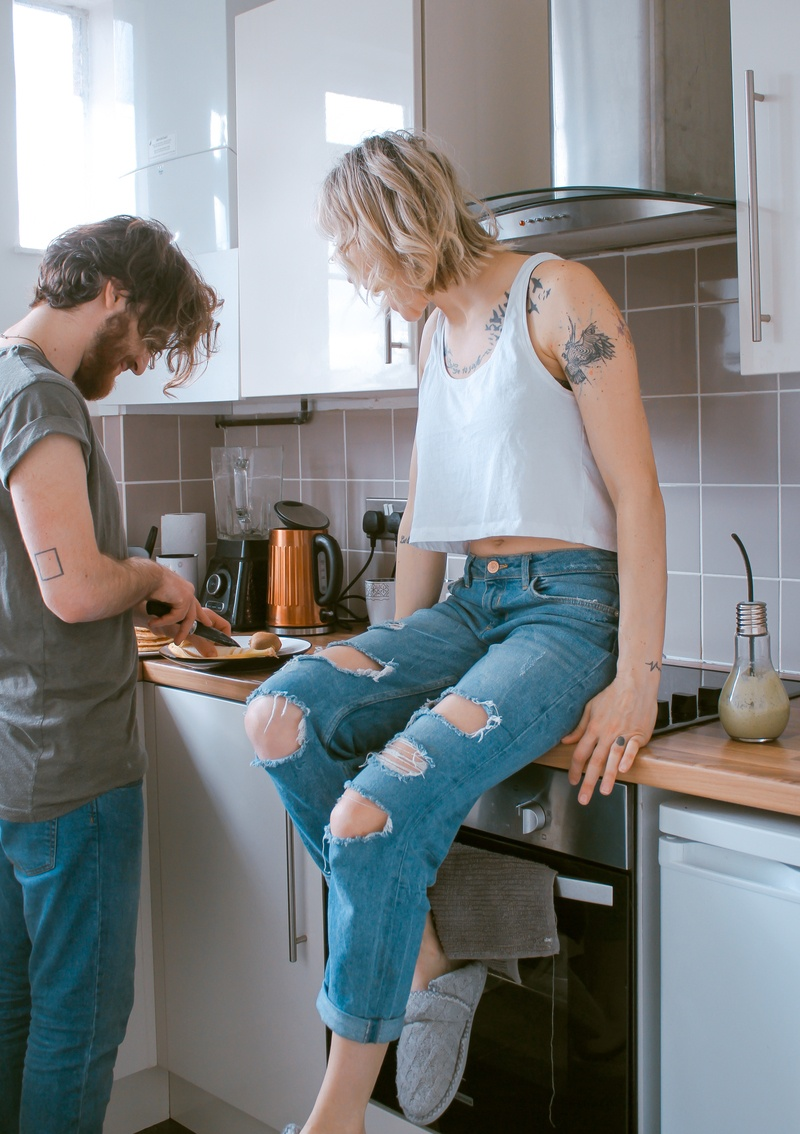 Woman And Man in Kitchen