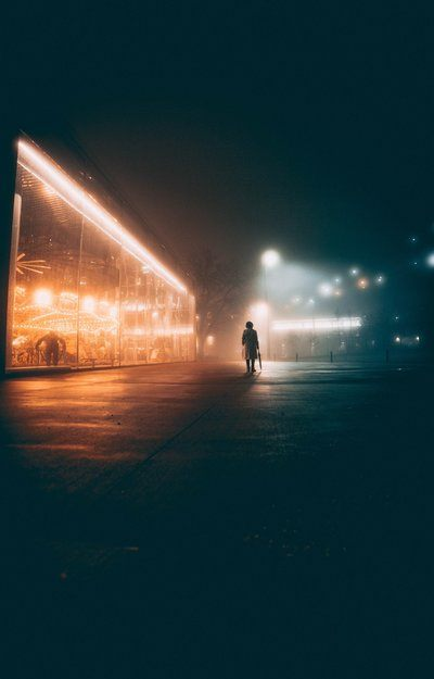 Woman Walks Eerie Night Streets