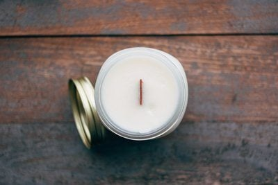 Wood Wick Candle From Above