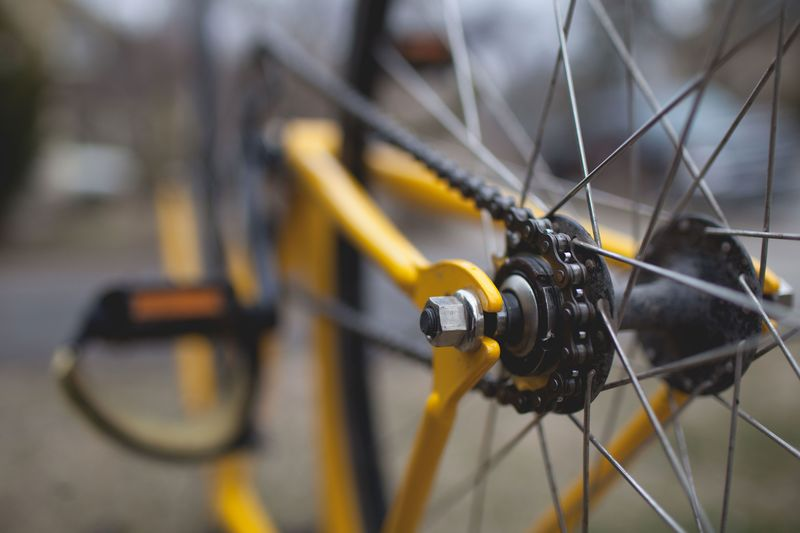 Yellow And Black Bicycle Close-Up
