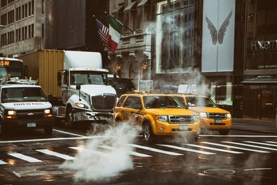 Yellow Cab in New York Street