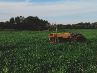 Yellow Farm Tractor on Green Grassfield