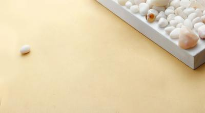 Small white stones on table