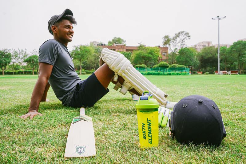 Cricket player resting