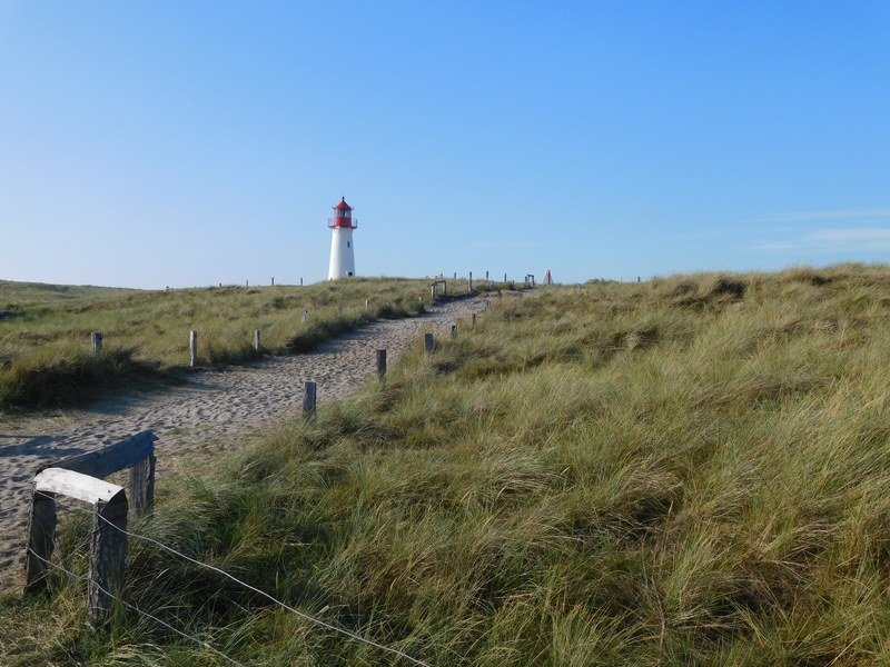 Red-white striped lighthouse