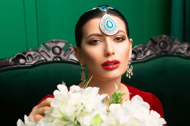 Model Posing with Face Jewelry