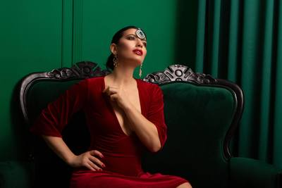 Luxurious Woman Dressed in Red