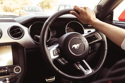 Inside a Ford Mustang car